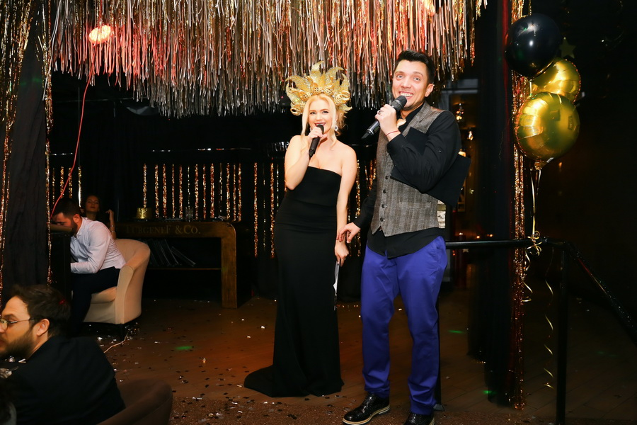 ведущие вечеринки «Black&Gold New Year» елена филонова и lucas
